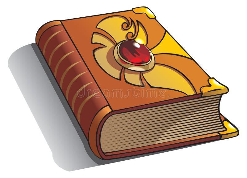 Oud boek met gem op dekking vector illustratie