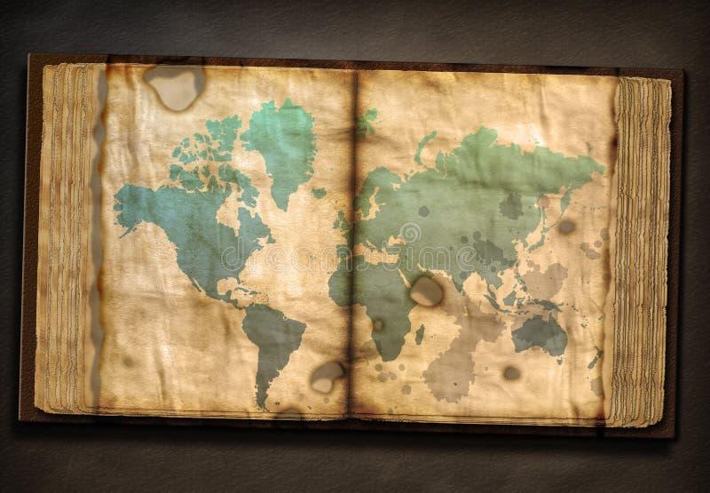Oud Boekdeel met Wereldkaart stock illustratie