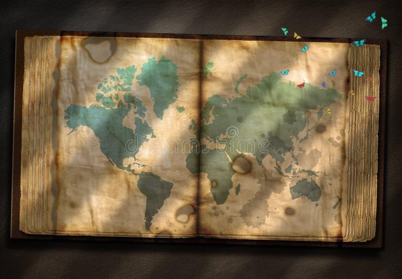 Oud Boekdeel met Wereldkaart royalty-vrije illustratie