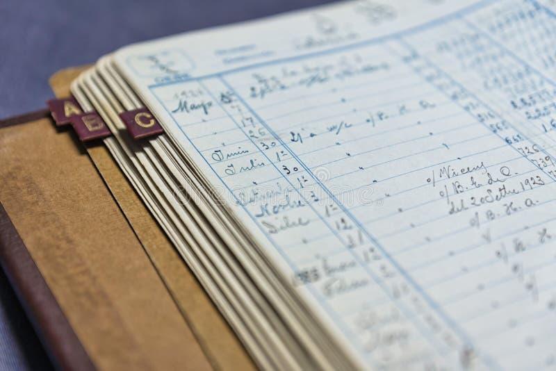 Oud boekhoudingsboek royalty-vrije stock afbeeldingen