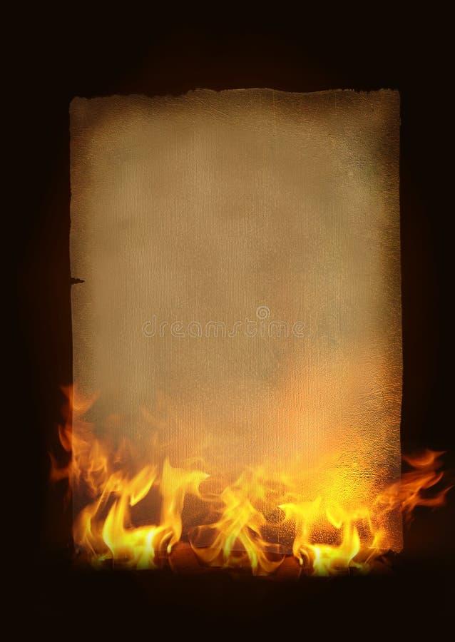 Oud brandend document stock illustratie