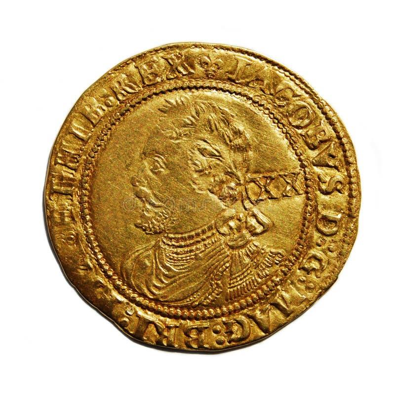 Oud Brits gouden muntstuk dat op wit wordt geïsoleerdr royalty-vrije stock afbeelding