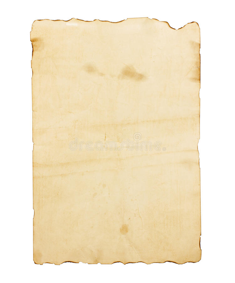 Oud bruin die notadocument op witte achtergrond wordt geïsoleerd stock afbeeldingen