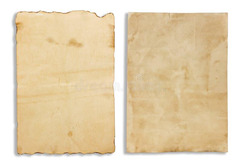Oud bruin die notadocument op witte achtergrond wordt geïsoleerd stock foto's