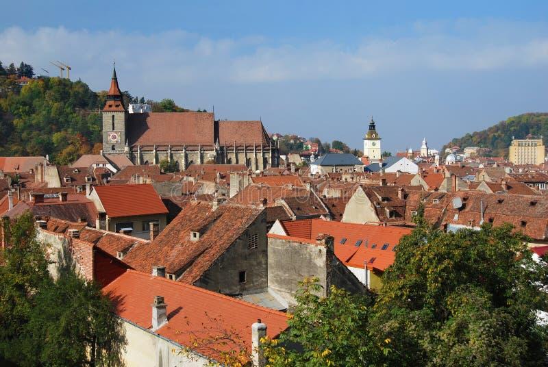 Oud centrum in Brasov (Roemenië) royalty-vrije stock afbeeldingen