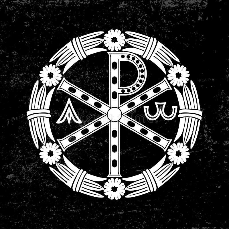 Oud Christelijk symbool van Jesus Christ Alpha en Omega stock illustratie