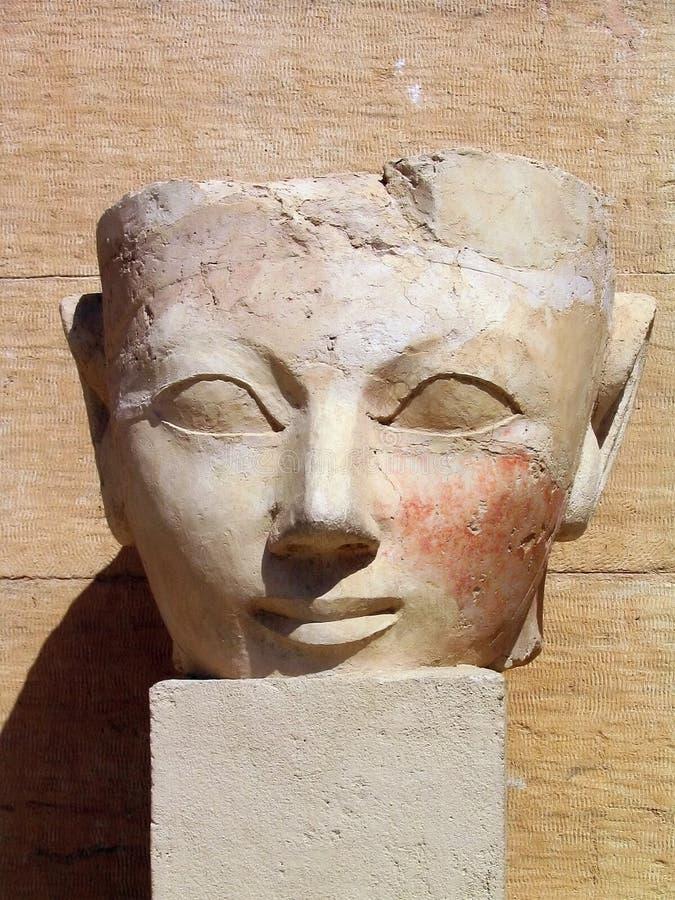 Oud cijfer bij de Tempel van Koningin Hatshepsut, Egypte royalty-vrije stock foto's
