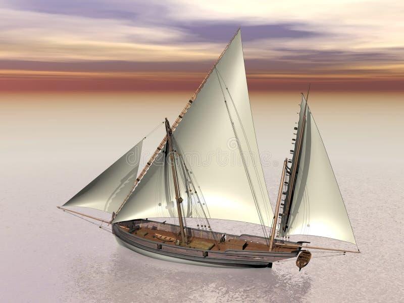 Oud 3D slagschip - geef terug stock illustratie