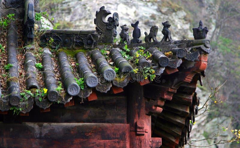 Oud dak van Chinese tempel, Wudang-Bergen, China stock afbeeldingen
