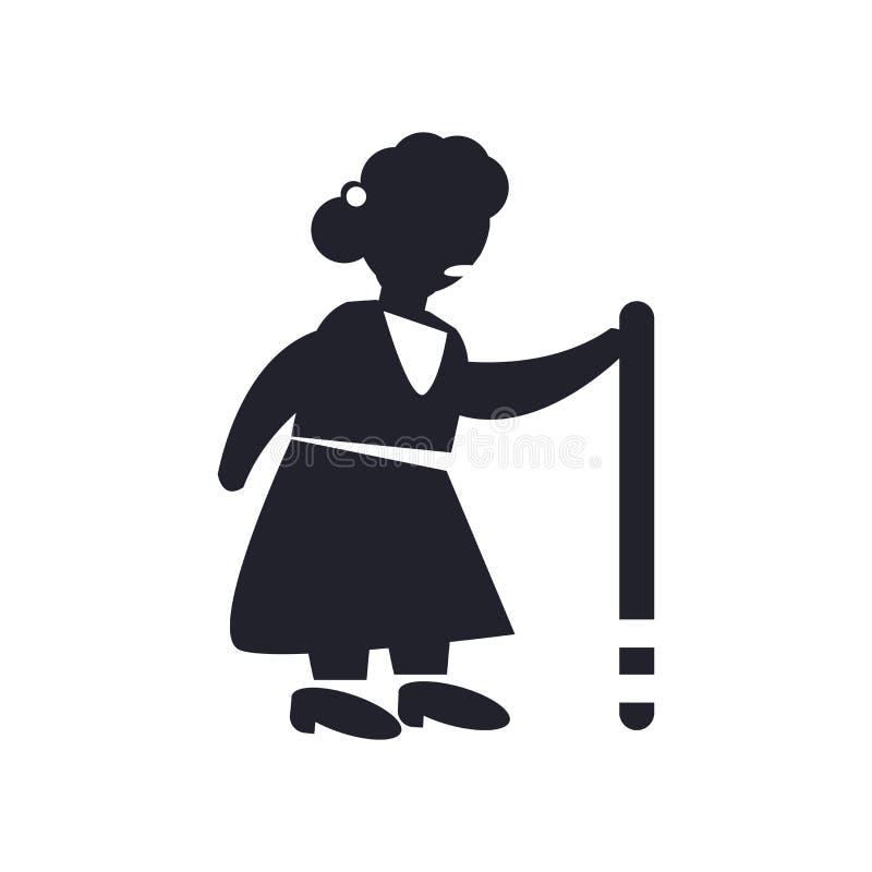 Oud Dame het lopen pictogram vectordieteken en symbool op witte B wordt geïsoleerd stock illustratie
