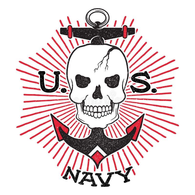 Oud de Marineontwerp van de schoolv.s. royalty-vrije illustratie