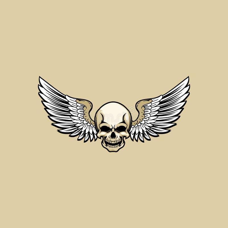 Oud de schedelhoofd van het schoolthema met vleugelvector vector illustratie