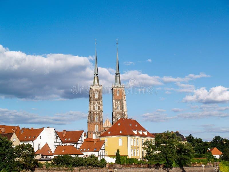 Oud de stadspanorama van Wroclaw - het Eiland van de Kathedraal, Polen royalty-vrije stock foto's