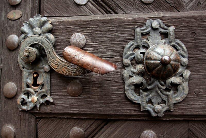 Oud deurhandvat royalty-vrije stock afbeelding