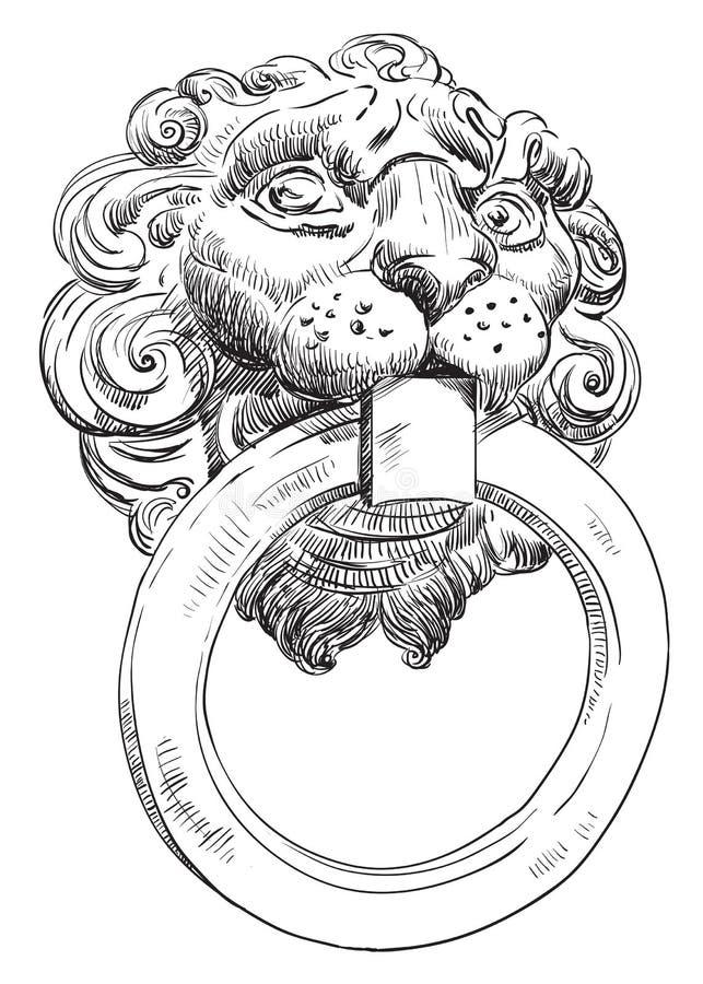 Oud deurhandvat in de vorm van een leeuw` s hoofd vector illustratie