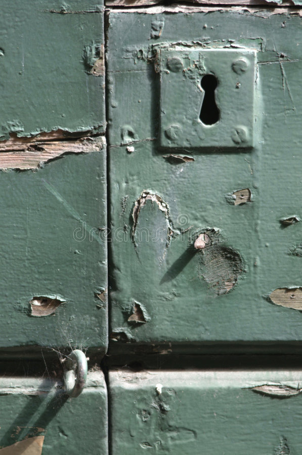 Oud deurslot stock fotografie