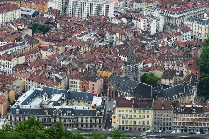 Oud die centrum van Grenoble, van de Bastilla-berg, Frankrijk wordt gezien stock afbeelding