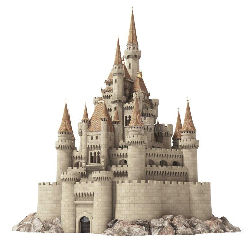 Oud die fairytalekasteel op de heuvel op wit wordt geïsoleerd vector illustratie