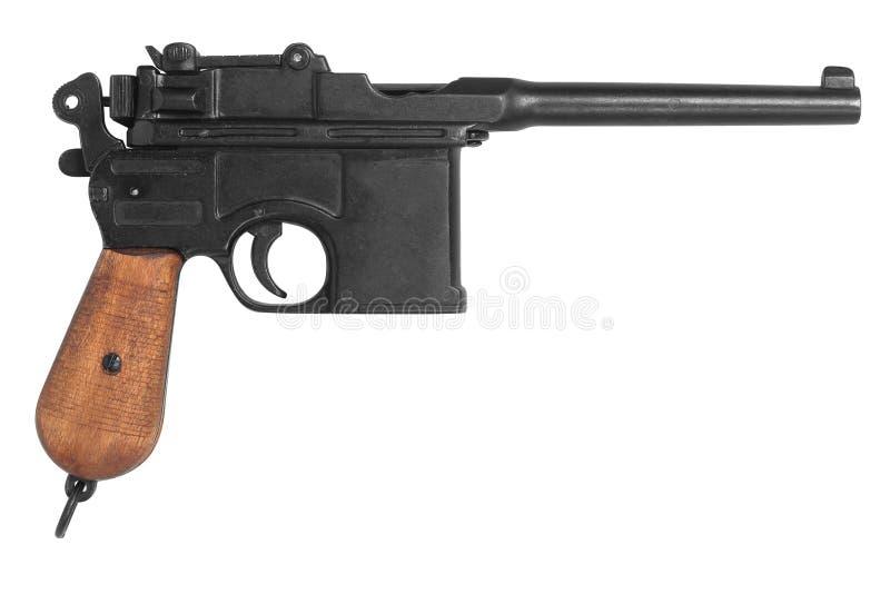Oud die kanonsysteem Mauser op wit wordt geïsoleerd stock afbeelding