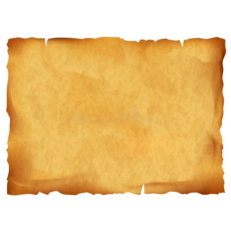 Oud die perkament op witte achtergrond wordt geïsoleerd vector illustratie