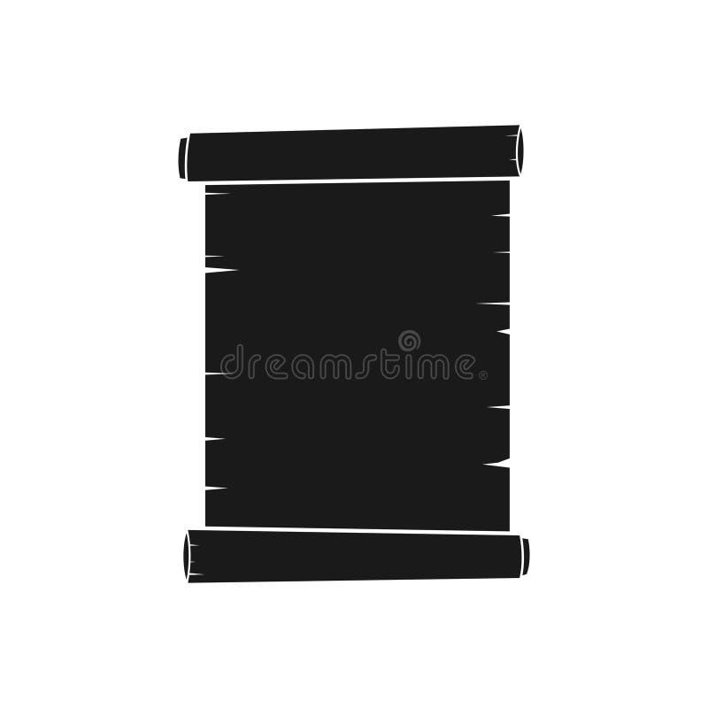 Oud die roldocument pictogram op witte achtergrond wordt geïsoleerd Retro bladpictogram, illustratie van oud perkament stock illustratie