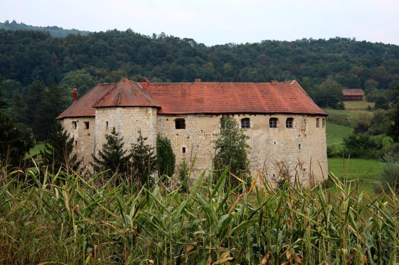 Oud die stadskasteel Ribnik als defensie tegen vijanden wordt gebruikt met dicht bos op achtergrond en cornfield vooraan bij zons stock fotografie