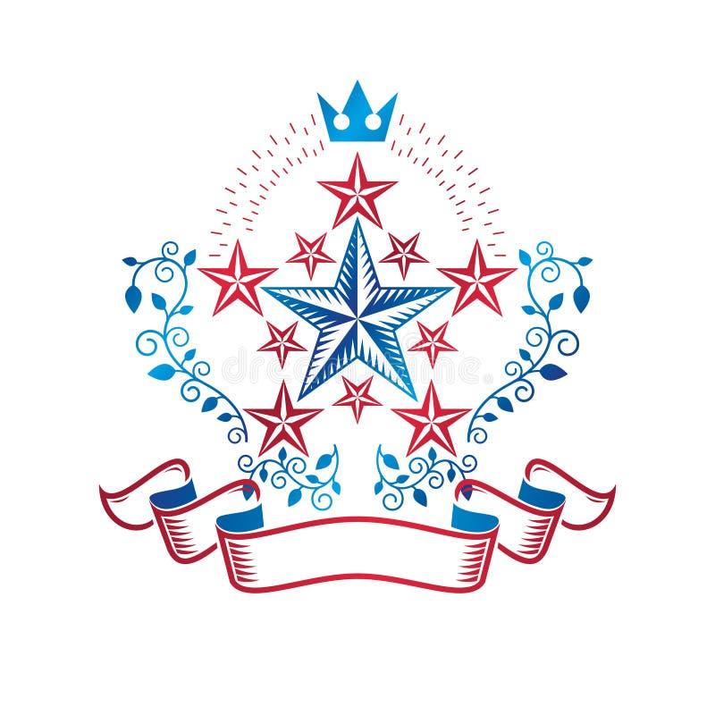Oud die Sterembleem met keizerkroon en bloemenornament wordt verfraaid Heraldisch vectorontwerpelement, het symbool van de 5 ster vector illustratie