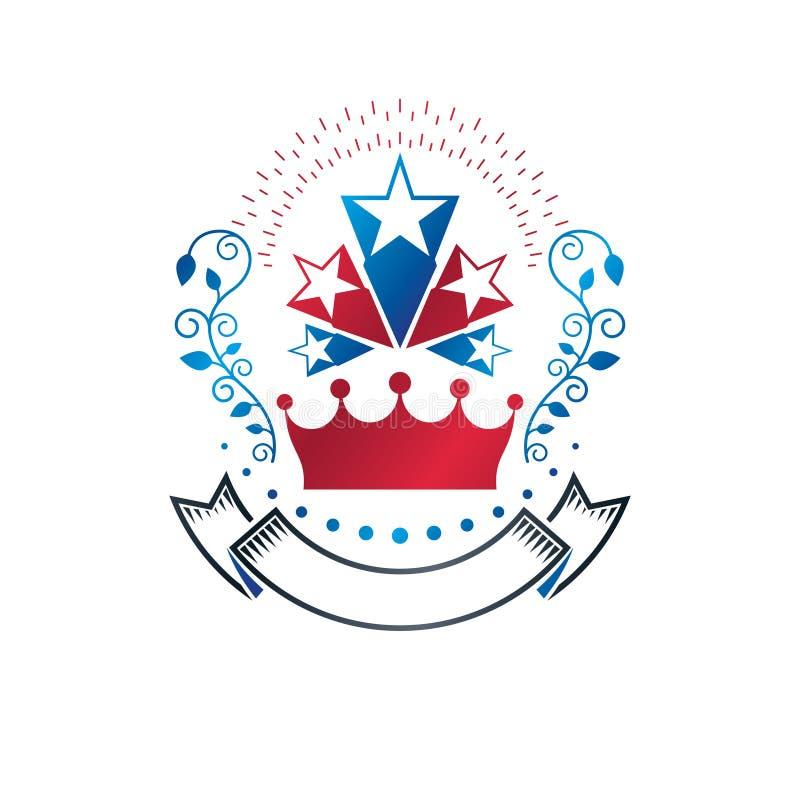Oud die Sterembleem met keizerkroon en lauwerkrans wordt verfraaid Heraldisch vectorontwerpelement, het symbool van de 5 sterrent vector illustratie