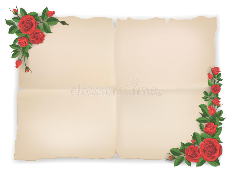 Oud document blad en rode rozen stock illustratie