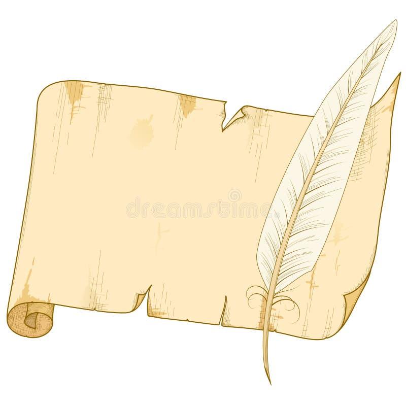 Oud document broodje met veer royalty-vrije illustratie