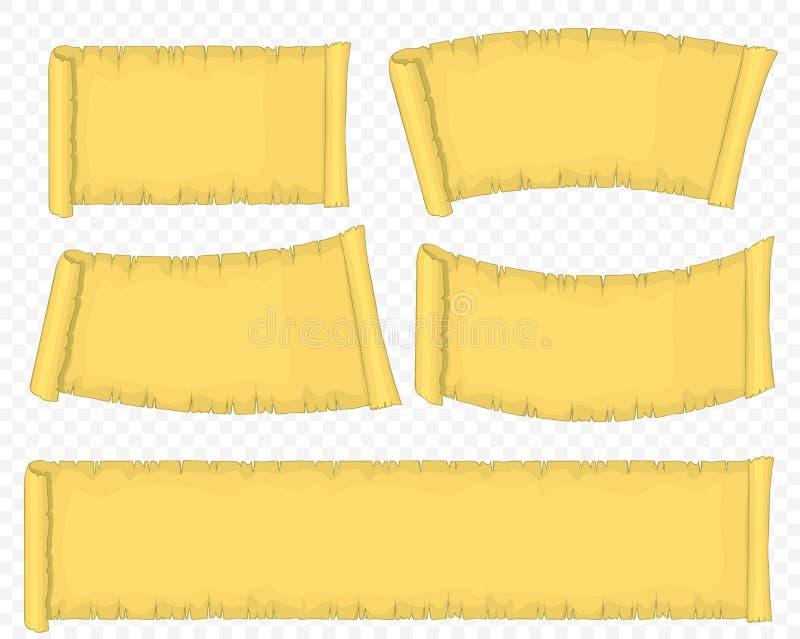 Oud document broodje, Papyrusrol, Leeg Oud Manuscript Vector royalty-vrije illustratie