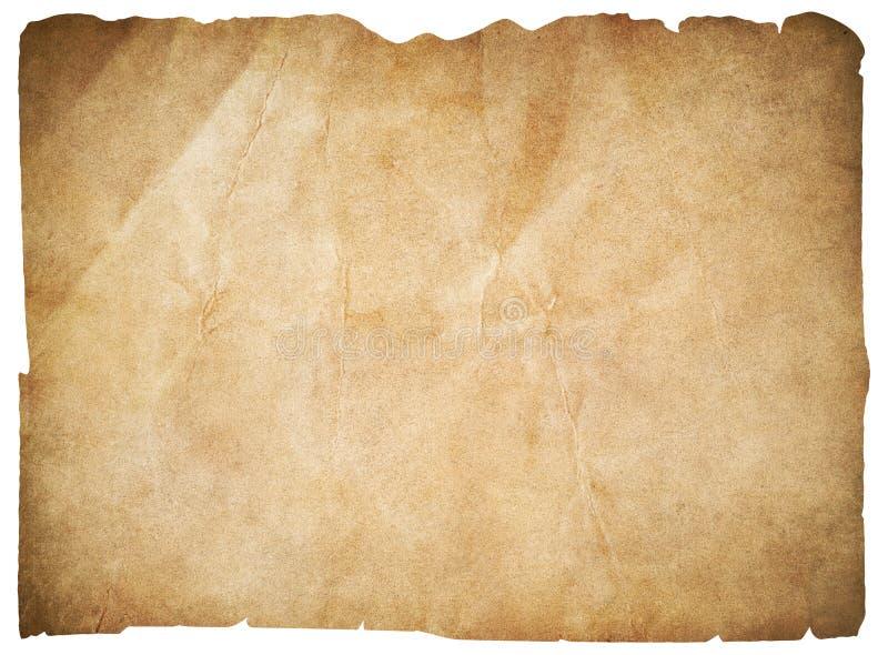 Oud document of lege die piratenkaart met het knippen van weg wordt geïsoleerd royalty-vrije illustratie