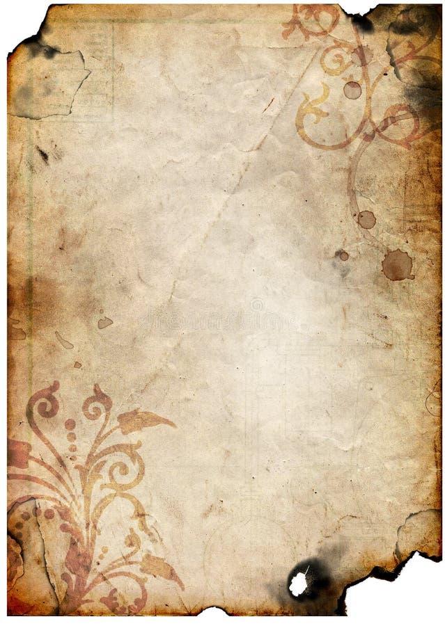 Oud document met bloemenontwerp stock foto's