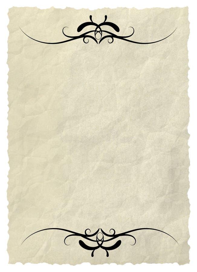 Oud document met decoratieve elementen stock illustratie