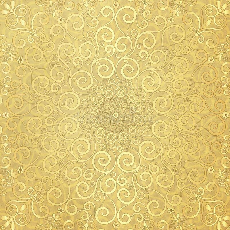 Oud document met gouden patroon vector illustratie