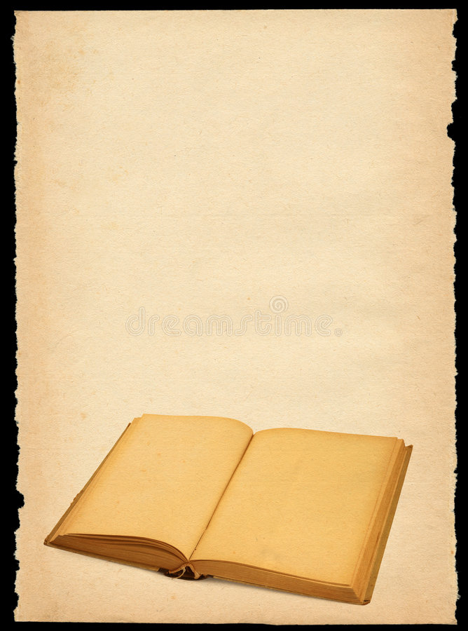 Oud document met open boek stock afbeelding