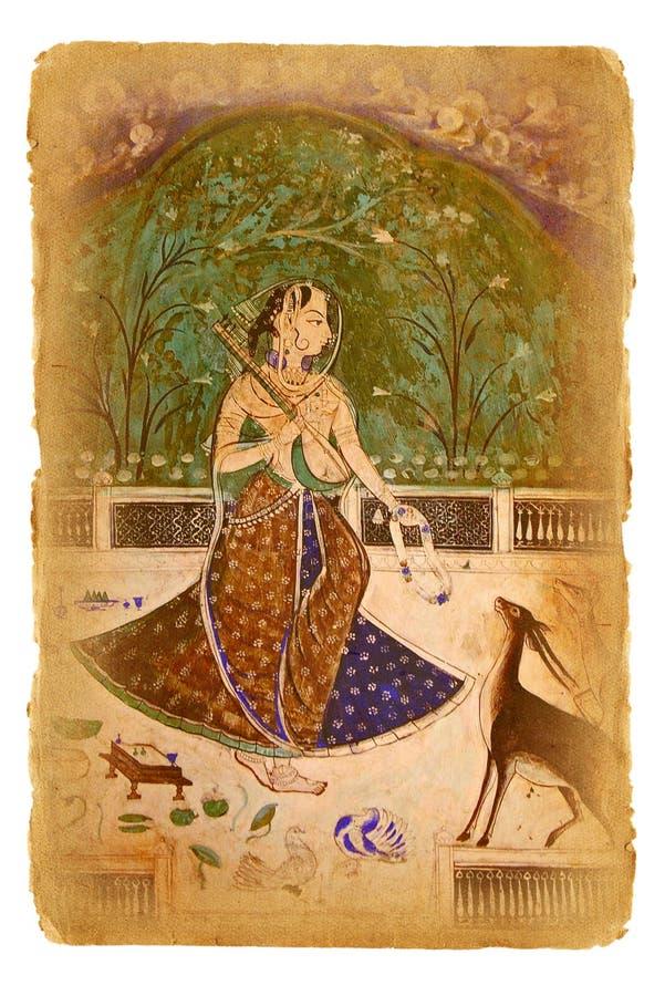 Oud document met oud Indisch beeld royalty-vrije stock foto's