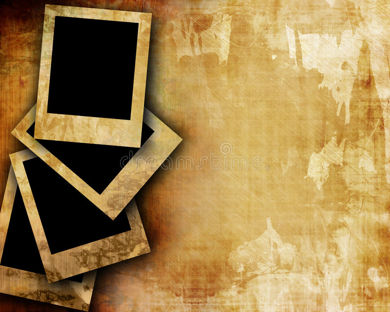 Oud document met polaroids royalty-vrije illustratie