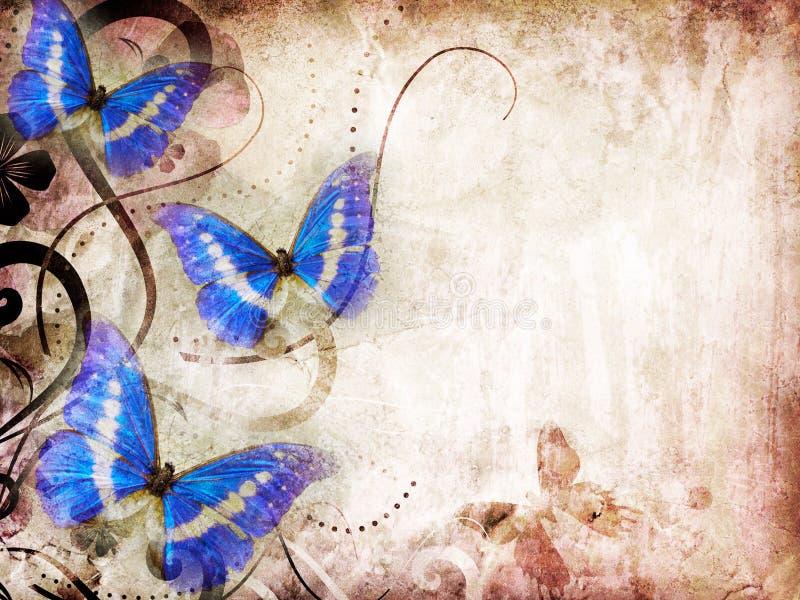 Oud document met vlinder stock illustratie