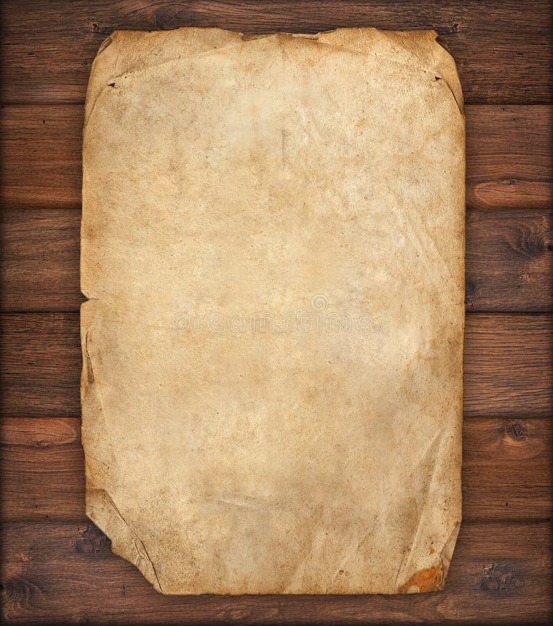 Oud document op houten textuur royalty-vrije stock foto's