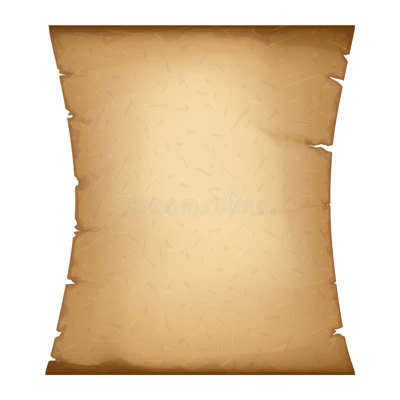 Oud document Verticaal Perkament Oude Uitstekende Papyrus Gedetailleerde Kartonbanner vector illustratie