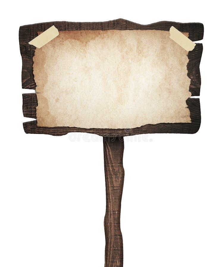 Oud doorstaan houten teken met uitstekend document stock afbeeldingen