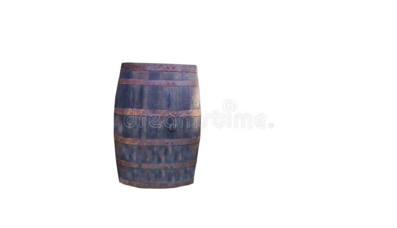 Oud doorstaan houten vat met roestige hoepels in de wilde westelijke openluchtdecoratie van de stijlzaal royalty-vrije stock afbeelding