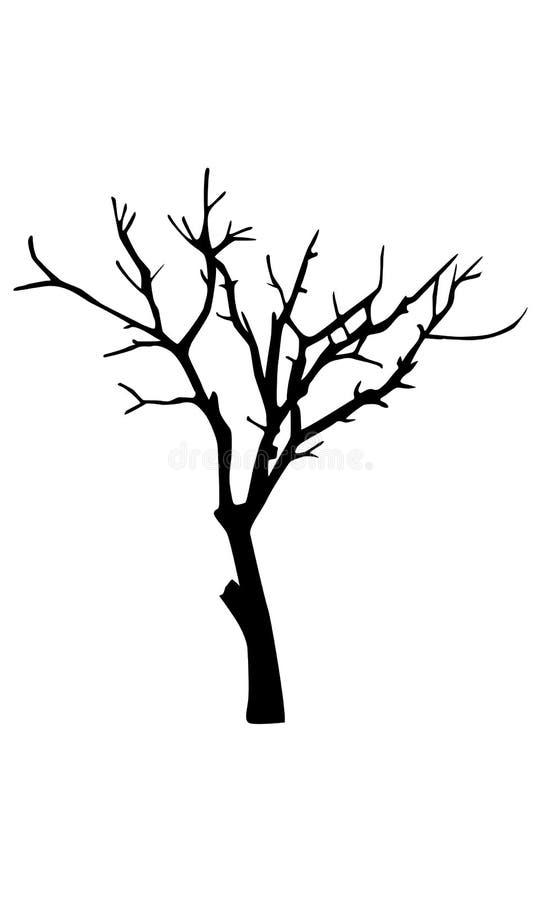 Oud droog boomsilhouet vector illustratie