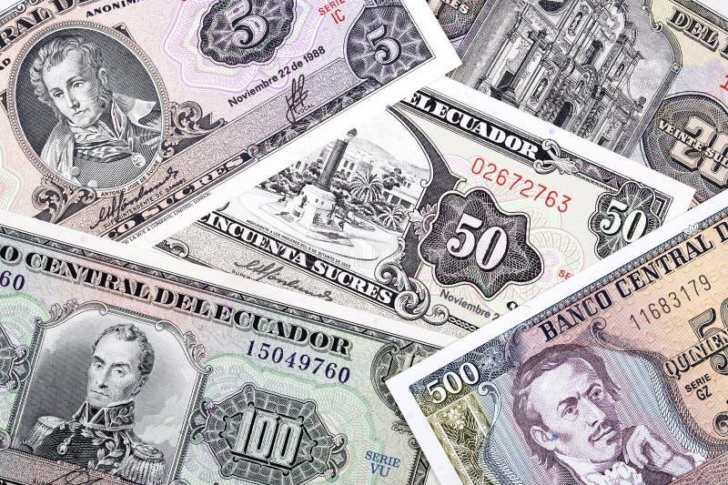 Oud Ecuatoriaans geld, een achtergrond royalty-vrije stock foto's