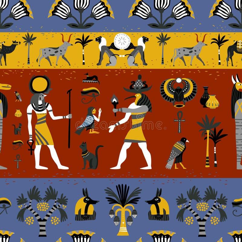 Oud Egyptisch Godsdienst Naadloos Patroon stock illustratie