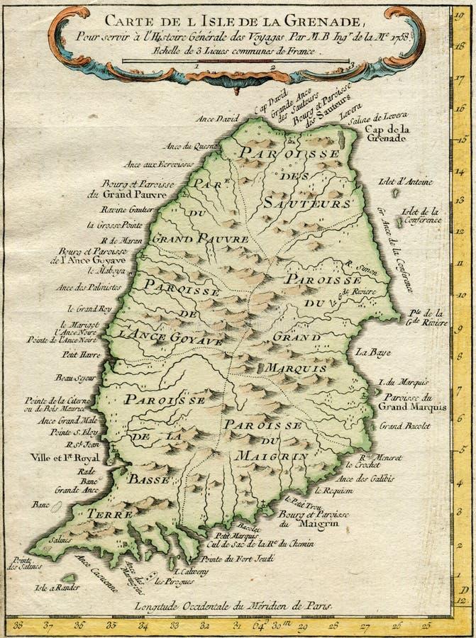 OUD EILAND 1750 VAN DE KAARTgranaat royalty-vrije stock foto