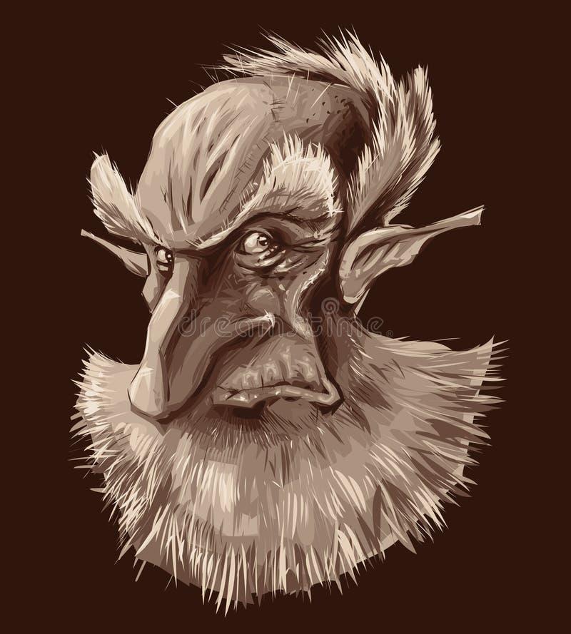 Oud elfportret vector illustratie