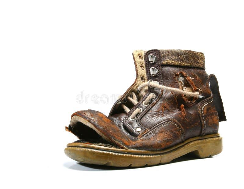 Oud en bronken schoen. royalty-vrije stock foto's