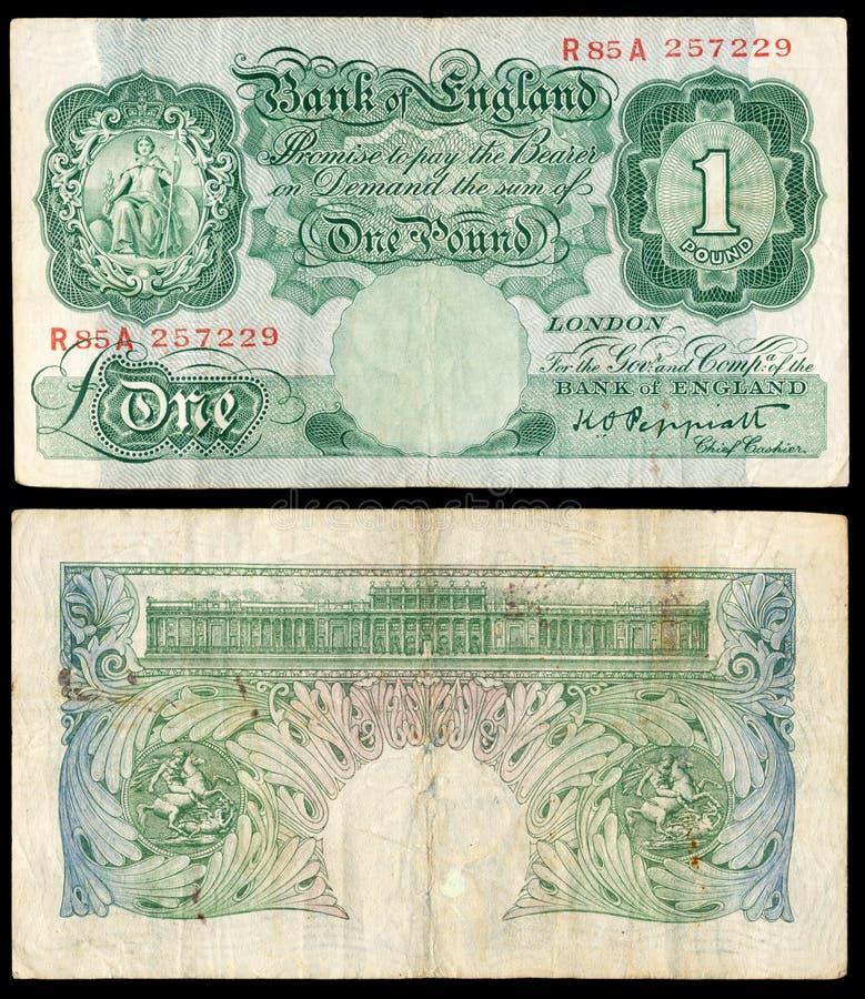 Oud Engels bankbiljet stock afbeeldingen